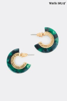 White Stuff Green Marble Hoop Earrings