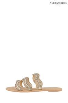 Accessorize Gold Fiji Beaded Sandals