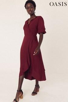 Oasis Purple Ruffle Sleeve Midi Dress