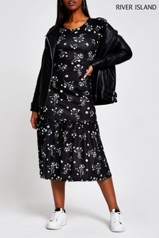 River Island Black All Over Print Ditsy Puff Sleeve Dress