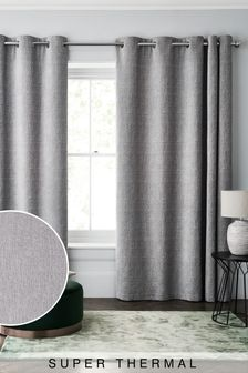 Silver Grey Heavyweight Chenille Eyelet Super Thermal Curtains