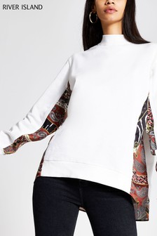 River Island Cream Print Long Sleeve Woven Mix Sweatshirt