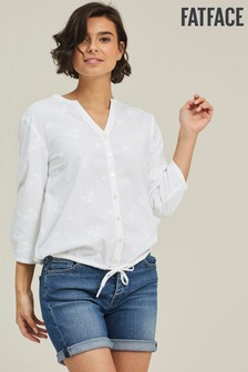 FatFace White Jodie Broderie Tie Front Top