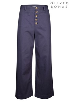 Oliver Bonas Cotton Stretch Blue Wide Leg Trousers