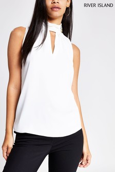 River Island Ivory Anneka High Neck Top