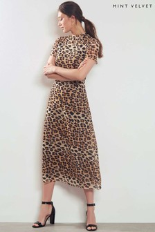 Mint Velvet Leopard Print Mesh Dress
