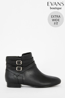 Evans Extra Wide Fit Black Double Buckle And Ankle Boots