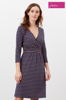 Joules Jude Wrap Dress With 3/4 Sleeves