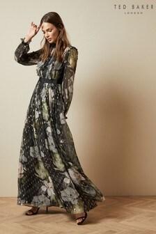 Czarna, długa sukienka z nadrukiem Ted Baker