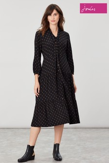 Joules Brown Josie Button Through Dress With Tie Neck