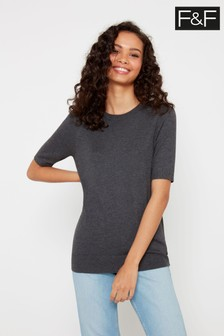 F&F Grey Crew Neck T-Shirt