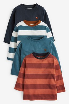 4 Pack Jersey Stripe And Plain Long Sleeve T-Shirts (3mths-7yrs)