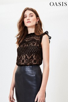 Oasis Black Lace Shell Top