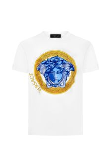 Versace Boys White Cotton T-Shirt
