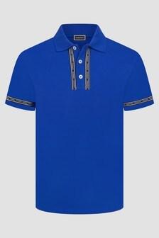 Versace Boys Blue Cotton Polo Top