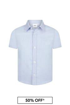 Boss Kidswear Boys Blue Cotton Shirt