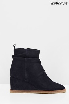 White Stuff Navy Ruched Wedge Ankle Boots