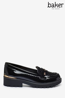 Baker by Ted Baker Black Patent Bows Loafers