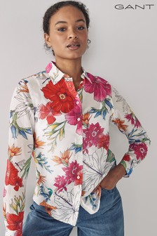 GANT Eggshell Humming Floral Cotton Silk Shirt