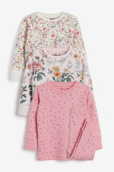 3 Pack Ditsy Floral Print Cotton Snuggle Pyjamas (9mths-12yrs)