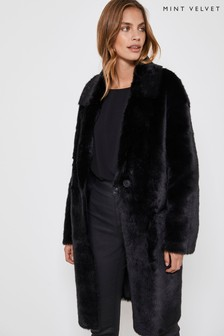 Mint Velvet Black Faux Fur Chuck On Coat