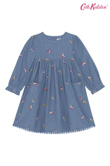 Cath Kidston® White Embroidered Chambray Rollerskates Dress