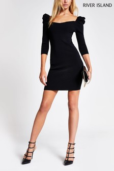 River Island Black Brooke Puff Sleeve Dress