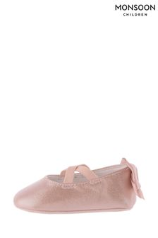 Monsoon Pink Baby Valeria Shimmer Bootie Shoes
