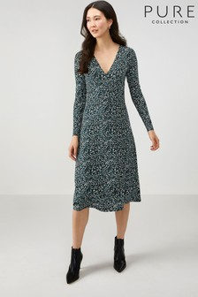 Pure Collection Animal Jersey Midi Wrap Dress