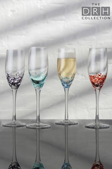 Set of 4 Speckle Champagne Flutes By The DRH Collection