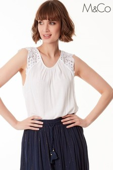 M&Co White Crinkle Crochet Top
