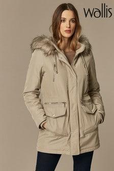 Wallis Stone Faux Fur Lined Hood Parka Coat