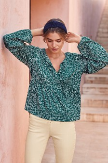Ditsy Print Textured Top