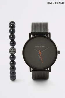 River Island Black Mesh Bracelet Gift Set