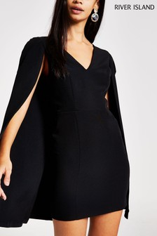 River Island Petite Black Bat Mini Dress