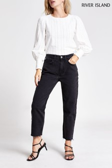 River Island Black Washed Panda Straight Leg Jeans