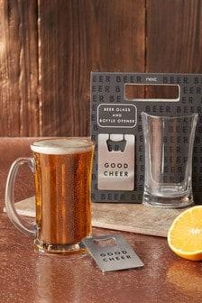 Beer Glass & Bottle Opener Gift Set