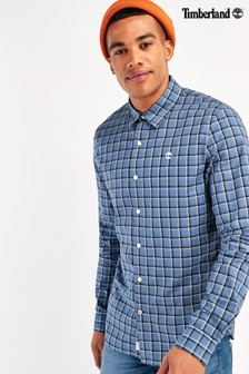 Timberland® Blue Long Sleeve Stretch Poplin Slim Check Shirt