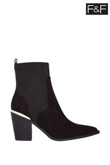 F&F Black Western Heel Clip Boots