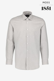 Moss 1851 Tailored Fit Grey Single Cuff Two Tone Dobby Shirt