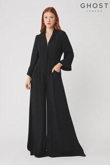 Ghost London Black Olivia Satin Back Crepe Jumpsuit