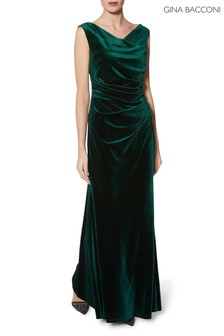 Gina Bacconi Green Ramona Velvet Maxi Dress