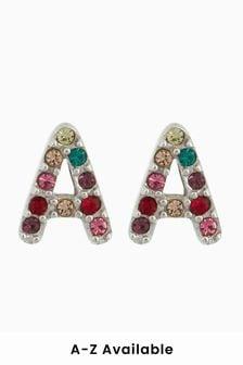 Rainbow Initial Stud Earrings
