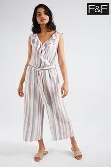 F&F Multi Blue Linen Blend Stripe Jumpsuit