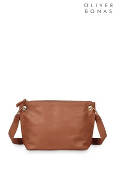 Oliver Bonas Brown Slouch Ring Detail Cross Body Bag
