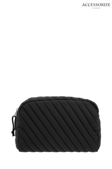 Accessorize Black Quilted Nylon Makeup Bag