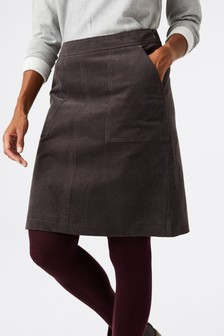 White Stuff Grey Clocktower Cord A-Line Skirt