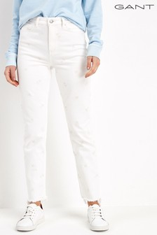 GANT High Waist Embroidered White Jeans
