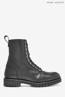 Mint Velvet Black Debbie Black Leather Boots