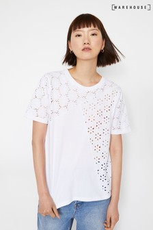 Warehouse White Broderie T-Shirt